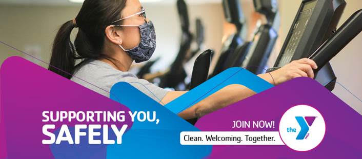 YMCA Member working out with mask